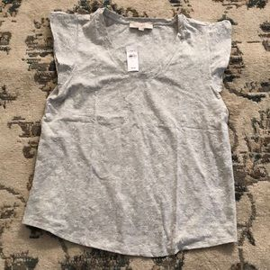 LOFT Floral Embroidered Flutter Sleeve Top NWT